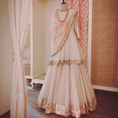 ideas ivory bridal lengha indian couture for 2019 Indian Gowns Dresses, Indian Fashion Dresses, Dress Indian Style, Indian Designer Outfits, Pakistani Dresses, Nikkah Dress, Desi Wedding Dresses, Indian Wedding Outfits, Bridal Outfits