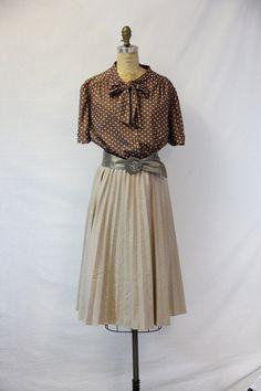 Plus Size Vintage Dress Neutral Secretary by SIZEisJUSTaNUMBER, $74.00