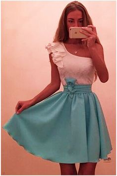 One Shoulder with Ruffled Blue Mini Chiffon Skater Dress with Bow Belted Sexy Outfits, Sexy Dresses, Cute Dresses, Short Dresses, Fashion Dresses, Women's Fashion, Fabulous Dresses, Beautiful Outfits, Streetwear