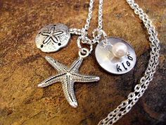 Starfish Necklace, Sand Dollar Necklace, Personalized Necklace, Pearl Necklace, Ocean Jewelry, Beach Jewelry