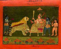 Durgā enthroned.       Rajasthan School,        1800 (circa)