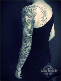 Mandala Flower And Ganesha Tattoo On Left Sleeve Ganesh Tattoo, 1 Tattoo, Lace Tattoo, Tiny Tattoo, Sketch Tattoo, Sexy Tattoos, Body Art Tattoos, Small Tattoos, Tattoos For Guys