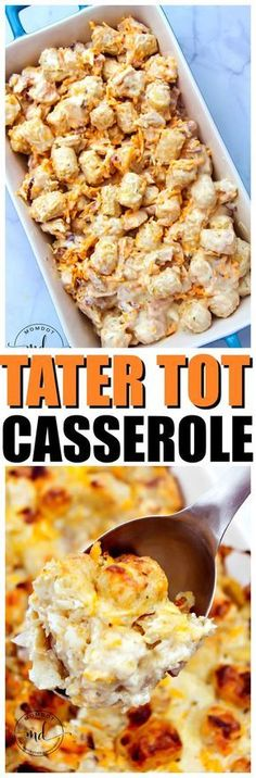 Tater Tot Casserole with Chicken, Bacon and lots of Cheese, Delicious Top recipe for Tater Tot Casserole #dinner #dinnerrecipes #potatoes