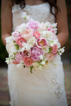 Bouquet of Ivory and Pinks |Rancho Buena Vista Adobe Wedding|Photographer:  Vallentyne Photography
