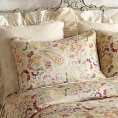AVA LINEN SHAM -- Light and lovely florals and paisley in soft, feminine colors evoke the refreshing beauty of watercolor paintings and sing the delights of the season in this elegant, pure linen sham. Standard, x Floral Bedding, Pink Bedding, Cotton Bedding, Luxury Bedding, Linen Duvet, Queen Bedding Sets, Bedding Shop, Comforter Sets, Turquoise