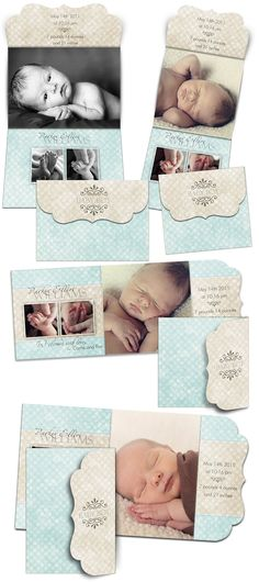 Birth Announcement Templates - PARKER ELLIOT - (8) Folded Luxe Card  Templates for Photographers