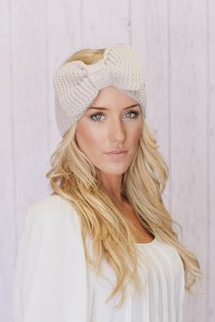 Knitted Bow Headband LARGE Bow Ear Warmer Vanilla Latte Taupe Knitted Earwarmer (HBK3-04). $38.00, via Etsy.