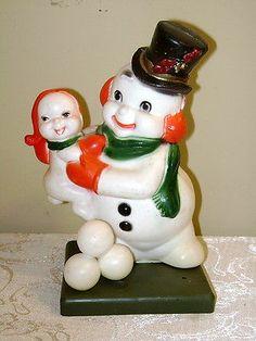 Cute Vintage Snowman Boy Plastic Table Decoration Blow Mold Florabelle Flowers | eBay
