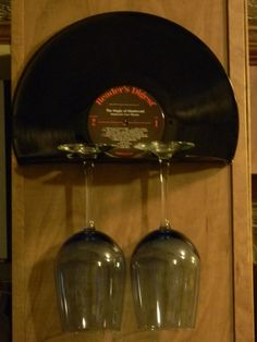 Vinyl Record Wine Glass Holder/Rack by HandmadeMolly on Etsy, $10.00: