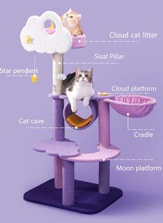 Chat Kawaii, Cat Climbing Tree, Cat Gym, Cat Tree House, Cat Towers, Purple Cat, Cat Supplies, Cat Furniture, Crazy Cats