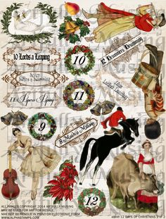 Artfully Musing: 12 DAYS OF CHRISTMAS ORNAMENTS and a NEW COLLAGE SHEET SET