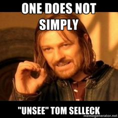 "Does not simply walk into mordor Boromir  - ONE DOES NOT SIMPLY ""UNSEE"" TOM SELLECK / made in response to https://twitter.com/serial_consign/status/209408239333408768"