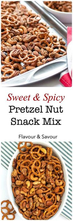 Sweet and Spicy Pretzel Nut Snack Mix. Super popular cocktail mix to make and have on hand for holiday snacking! |www.flavourandsavour.com