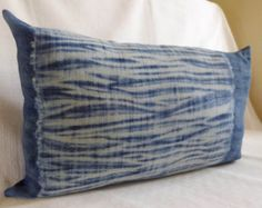 Shibori lumbar pillow cushion cover natural indigo by TextileBlue
