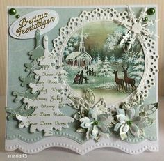 xmas cards made with precious marieke winter fun die Christmas Cards To Make, Christmas Paper, Vintage Christmas Cards, Xmas Cards, Vintage Cards, Handmade Christmas, Holiday Cards, Christmas Crafts, Quilling