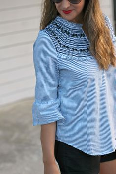 Embroidered Bell Sleeve Blouse #LexWhatWear - #styleblogger #fashionblogger #outfitguide #styleinspo #style #outfit #summerstyle #summeroutfit #casualstyle #weekendstyle #lookbook #nashvilleblogger #nashvillefashion