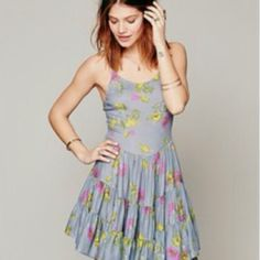 FP Blue Circle of Flowers Dress Washed and worn once // great condition // can fit sz XS-M // free people Free People Dresses