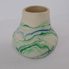 Vintage Nemadji Pottery Blue and Green Vase