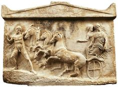 """""""Marble votive relief,found in Neon Phaleron,Attica BC.The abduction of the Nymph Basile by the hero Echelos. Greek Artifacts, Ancient Artifacts, Classical Period Art, Museum Studies, Roman, Oriental, Ancient Greece, Ancient Egypt, Ancient Civilizations"""