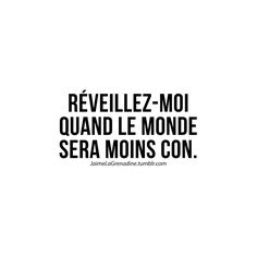 Wake me up when the world becomes less stupid. Typed Quotes, Words Quotes, Sayings, French Words, French Quotes, Meaningful Quotes, Inspirational Quotes, La Grenadine, Life Quotes Pictures