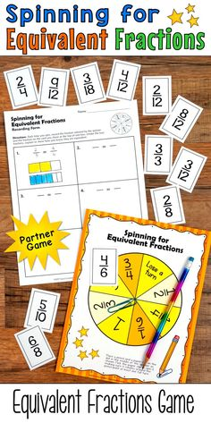 Spinning for Equivalent Fractions is a fun partner practice game from Laura Candler that's perfect for math centers and cooperative learning lessons. Meets 3rd grade Common Core standard 3.NF.A.1 and can also be used for a review activity in 4th or 5th grade.