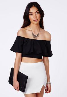Missguided Sirinda Black Bardot Frill Crop Top on shopstyle.com