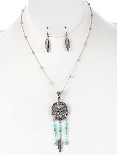 $14.00 AGED FINISH METAL,DREAMCATCHER PENDANT,NECKLACE AND EARRING SET,SEED BEAD