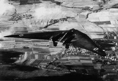 Horten Ho 229 flying over Göttingen, Germany. It was the first pure flying wing powered by a jet engine. ~1945.