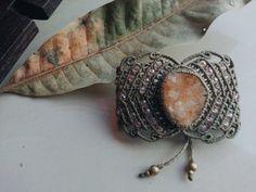 Handmade boho bohemian fairy elf beige olive citrine druzy bracelet by JuliaZnaidaArt on Etsy