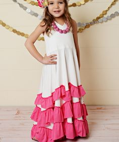 White & Pink Ruffle Tiered Halter Dress - Toddler & Girls | zulily Several different colors ..