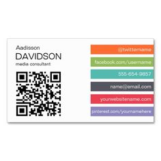 253 best qr code business card templates images on pinterest bright bar qr code social media business card accmission Image collections