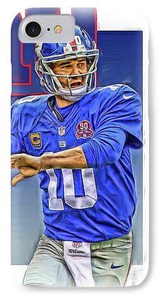Eli Manning IPhone 7 Case featuring the mixed media Eli Manning New York Giants Oil Art by Joe Hamilton