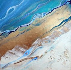 contemporary abstract beach landscape fluid acrylic metallic painting