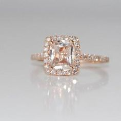 1.8ct Cushion peach champagne sapphire in 14k rose gold diamond ring