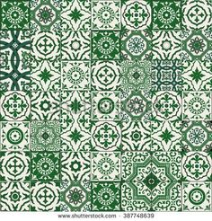 Mega Gorgeous seamless patchwork pattern from dark green and white Moroccan, Portuguese tiles, Azulejo, Arabic ornament. Patchwork Tiles, Patchwork Patterns, Tile Patterns, Moroccan Kitchen, Moroccan Art, Moroccan Tiles, Morrocan Floor Tiles, Tile House Numbers, Mediterranean Tile