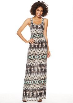 Tall Patterned Maxi Dress.  Sarah Racerback Maxi Extended Length