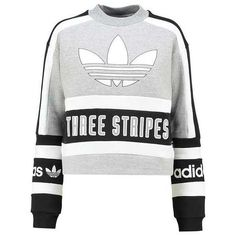adidas Originals Sweatshirt grey/black ❤ liked on Polyvore featuring tops, hoodies, sweatshirts, gray top, grey sweatshirt, adidas originals, grey top and gray sweatshirt