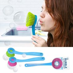A scrubber with a fun twist--blow bubbles!