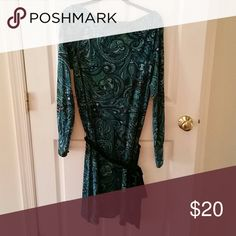 Banana Republic belted shift dress BR paisley print belted sheath.  Pretty turquoise and greens with a green velvet sash belt.  Draped neckline. Covered buttons at cuffs.  Above knee length. Silk cotton blend.  Gorgeous for fall/holiday Banana Republic Dresses Long Sleeve