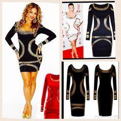 Celeb inspired black foil dresssz l runs sm celeb inspired black and gold bandage dress sz l runs small like m Dresses Long Sleeve