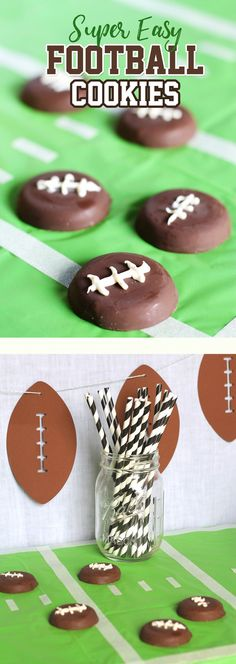 Make these quick and easy football cookies for your next big game day or Super Bowl party. So fun!