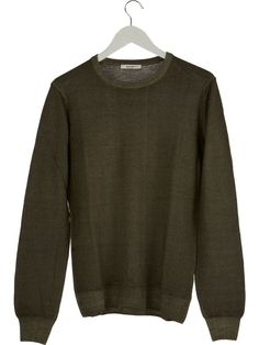 100% merino wool sweater man dark green by Exibit