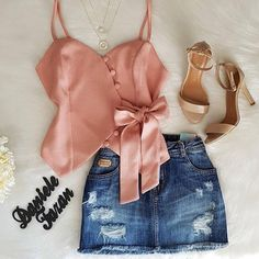 Que lindo ❤ Short Outfits, Outfits For Teens, Spring Outfits, Trendy Outfits, Cute Outfits, Teen Fashion, Fashion Outfits, Womens Fashion, Fashion Trends