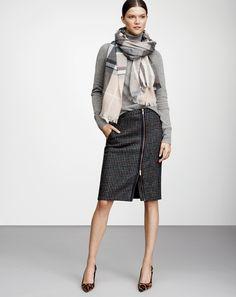OCT '14 Style Guide: J.Crew women's asymmetrical zip pencil skirt, plaid scarf, center cross ring, and Elsie calf hair pumps.