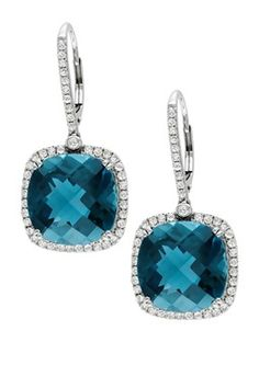 14K White Gold London Blue Topaz & Diamond Halo Leverback Earrings