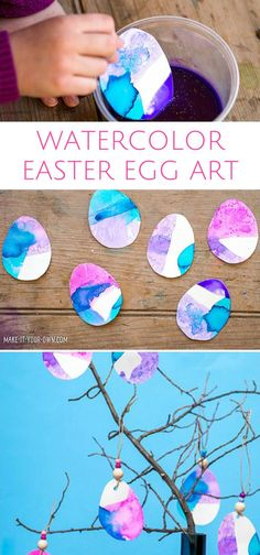 Watercolor Dipped Painted Easter Egg Art Project for Kids.
