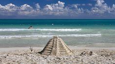 Riviera Maya beach sand castle