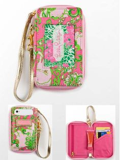 Lily Pulitzer Carded ID Wristlet- room for ID, credit cards, cash, lip gloss, and phone!