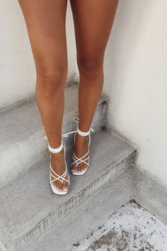 Strappy Salma Heels - Ivory - Heels by Sabo Skirt Sock Shoes, Cute Shoes, Shoes Heels Boots, Heeled Boots, Tan Strappy Heels, Tie Up Heels, Kitten Heels Outfit, Heels Outfits, Arabian Women
