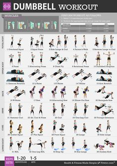 Fitwirr Women's Poster for Dumbbell Exercises 19 x 27. Get in Shape. Total Body…